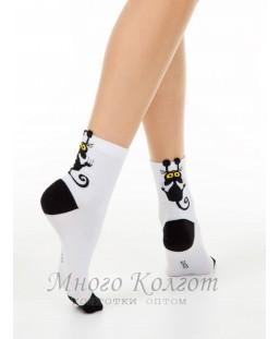 Хлопковые носки Conte Classic с пикотом «Black cat»