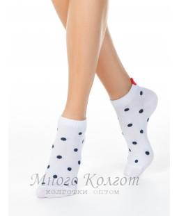 Хлопковые короткие носки Conte с пикотом-«сердечком» в горошек 20С-18СП-222